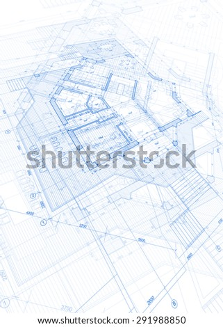 Architecture Blueprint Abstract House Plan Vector Stock Vector
