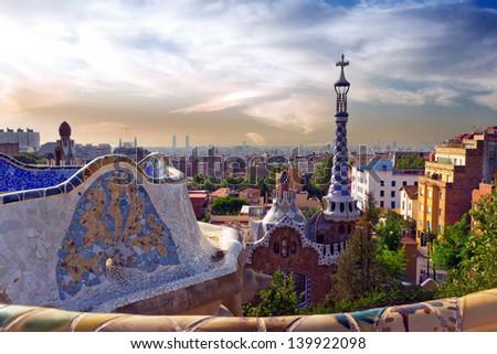 architecture designed by Antonio Gaudi in Park Guell, Barcelona - stock photo