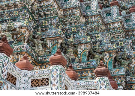 Architecture detail buddhist temple in bangkok - stock photo