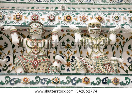 Architecture detail in Wat Arun buddhist temple in Bangkok, Thailand - stock photo