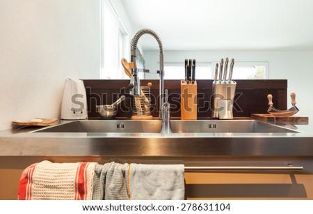 Architecture, detail modern kitchen, stainless steel sink - stock photo
