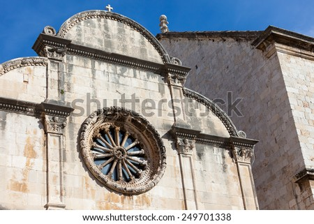 Architecture detail of a church in old town Dubrovnik, Croatia - stock photo