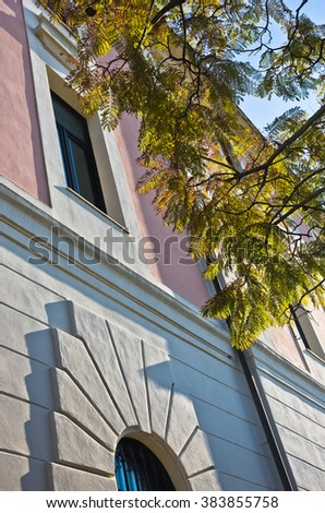 Architecture detail of old buildings in Cagliari downtown, Sardinia, Italy - stock photo