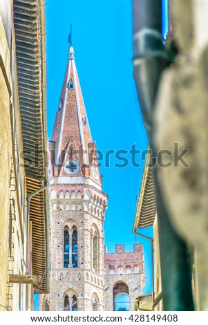 Architecture details in old city center in Florence, italy. / Architecture details Florence Italy. / Selective focus. - stock photo