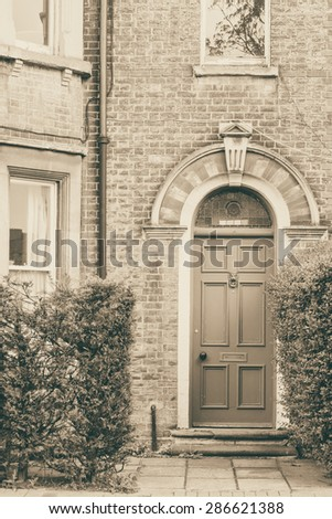 Architecture details of an English house in Cambridge monochrome image - stock photo