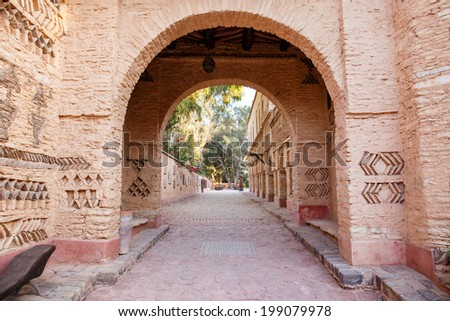 Architecture details of new Medina village in Agadir, Morocco - stock photo