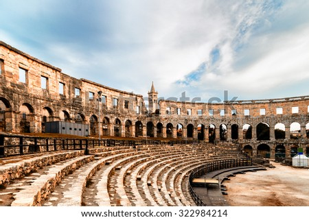 Architecture details of the Roman amphitheatre in Pula, Croatia, an arena similar to Colosseum of Rome - stock photo