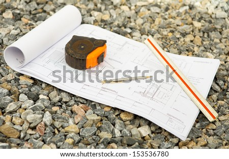 architecture drawings with pencil , ruler and Cartridges meters - stock photo