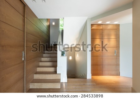 Architecture, empty modern house, staircase view