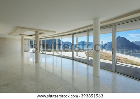 Architecture, empty room of a modern penthouse, marble floor