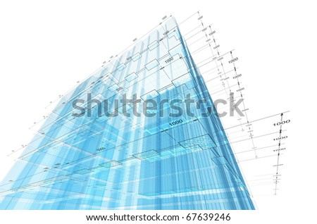 Architecture engineering. 3d render on white - stock photo