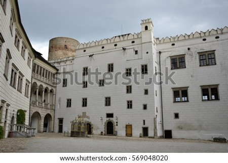 Architecture from Jindrichuv Hradec castle and cloudy sky
