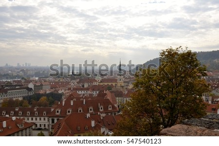 Architecture from Prague in Autumn and sky