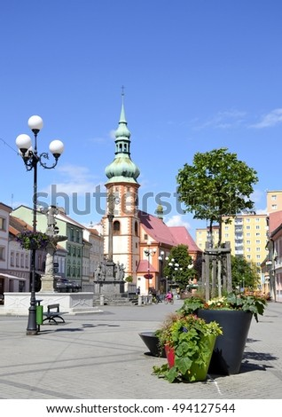 Architecture from Sokolov city and blue sky