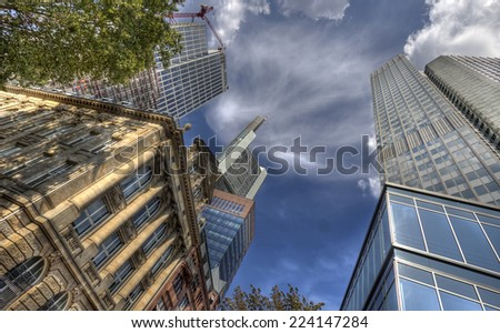 Architecture, historical and modern, in Frankfurt, Germany - stock photo