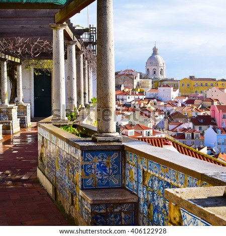 Architecture in Alfama district in Lisbon, Portugal - stock photo