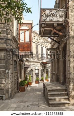 architecture in baku azerbaijan old town street - stock photo