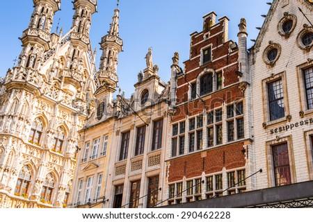 Architecture in Leuven Flemish Region, Belgium - stock photo