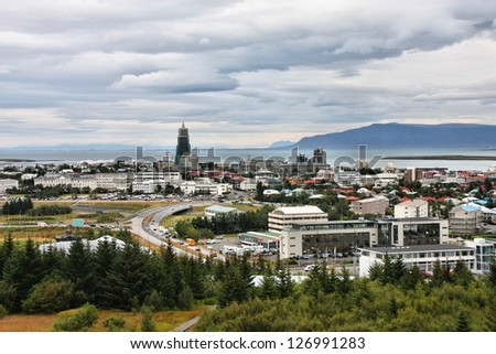 Architecture in Reykjavik, Iceland. Aerial view from Perlan. Cloudy day.