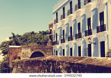Architecture in San Juan Old City  - stock photo