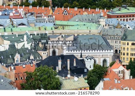 Architecture in the city of Riga, Latvia - stock photo