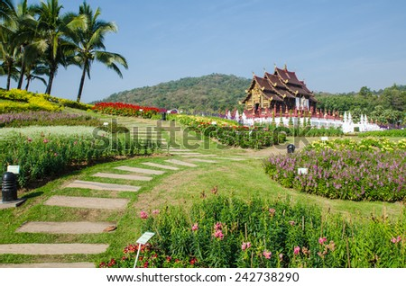 architecture in the Lanna style,Thailand - stock photo