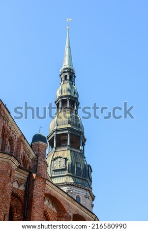 Architecture in the Old Town of Riga. Riga's historical centre is a UNESCO World Heritage Site