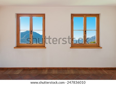 Architecture, interior, empty room with two windows