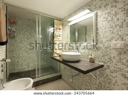 Architecture, interior home, bathroom with shower - stock photo