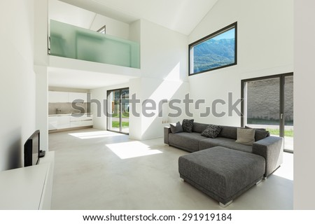 architecture, interior modern house, living room with sofa - stock photo
