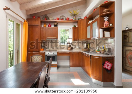 Architecture, interior of a country house, domestic kitchen - stock photo