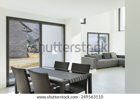 Architecture, interior of a modern house, dining room - stock photo