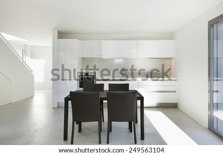 Architecture, interior of a modern house, domestic kitchen - stock photo