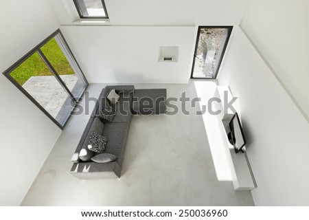 Architecture, interior of a modern house, living, top view - stock photo