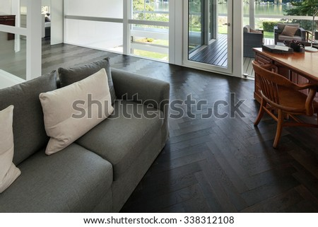 Architecture, interior of a modern house, open space - stock photo