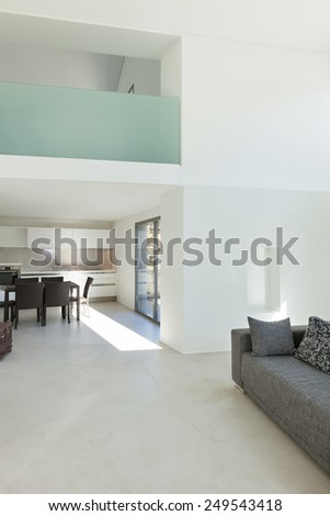Architecture, interior of a modern house, white walls - stock photo