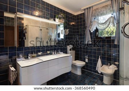 Architecture, interior of modern bathroom in luxury house - stock photo