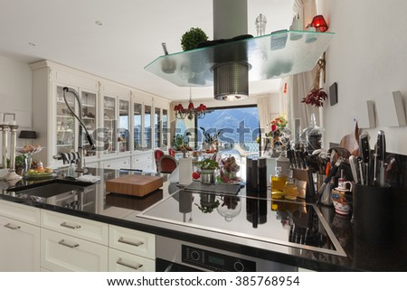 Architecture, interior of modern kitchen, counter top  - stock photo