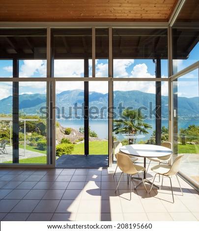 Architecture, interior with landscape view, veranda - stock photo