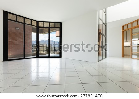 Architecture, Interiors of empty apartment, room with windows - stock photo