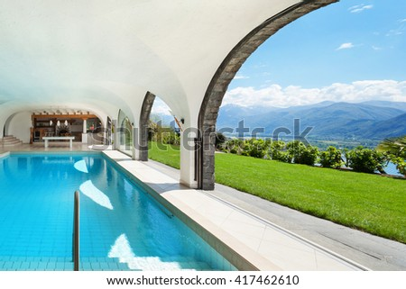 Architecture, luxury villa with  Indoor swimming pool - stock photo