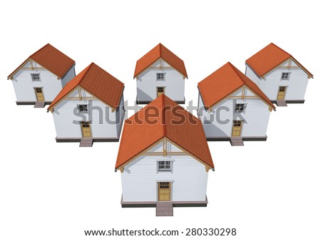Architecture model houses isolated on white - stock photo