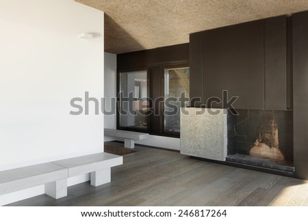 Architecture, modern apartment, empty room with fireplace