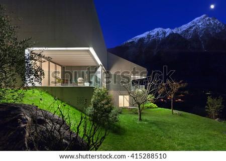 Architecture modern design, concrete house, night scene - stock photo