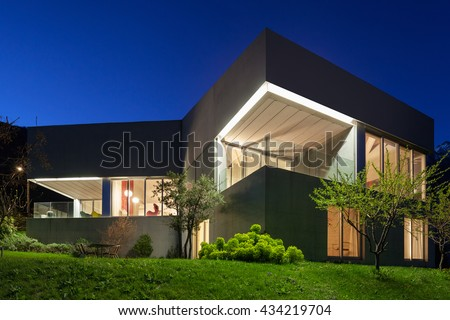 Architecture modern design, concrete house, night scene - stock photo