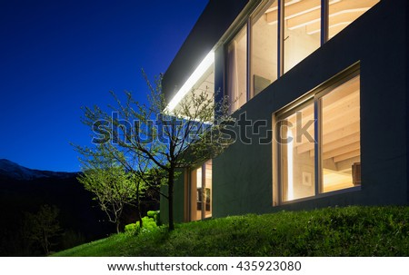 Architecture modern design, detail concrete house, night scene - stock photo