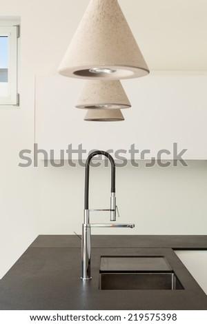Architecture modern design, interior, domestic kitchen, detail - stock photo
