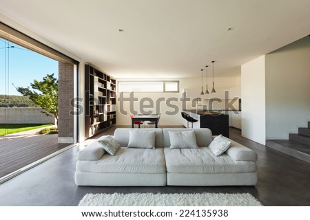 Architecture modern design, interior, living room with kitchen - stock photo