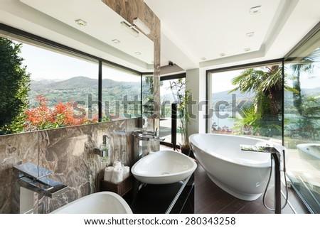 architecture, modern house, beautiful interiors, bathroom - stock photo
