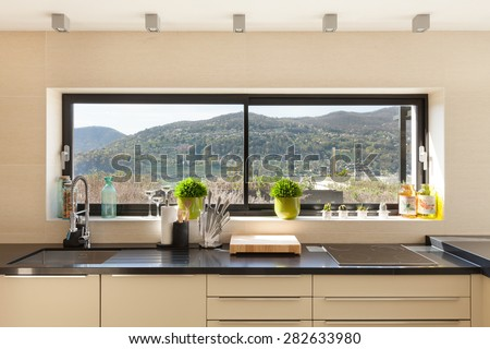 architecture, modern house, beautiful interiors, detail kitchen - stock photo